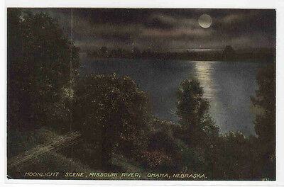 Moonlight on Missouri River Omaha Nebraska 1910c postcard