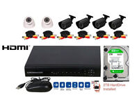 8 Channel AHD CCTV DVR Security System INCLUDES 6 cameras, cables, PSU, 2TB Drive, HDMI port *NEW*