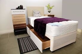 **7-DAY MONEY BACK GUARANTEE!**-Single Bed with 12inch Spine-Align Extrafirm Mattress- SAME DAY!