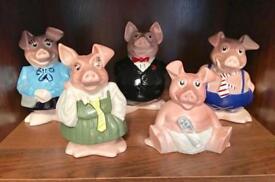 NATWEST - Five 'WADE' vintage Piggy Banks