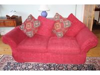 Red 3 Seater Sofa with Loose Covers which can be Replaced