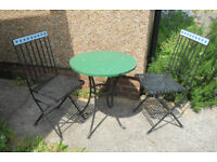 Patio Table and Two Folding Chairs