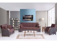 Brand New Turkish Talbot Fabric 3, 2, 1 Seater Sofa Bed Settee with Ottoman Storage - Wooden Arms
