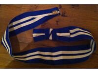 blue and white striped hat band for boater