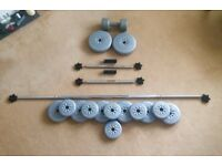 YORK SET OF DUMBBELLS, BARBELL & WEIGHTS
