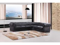 CHESTERFIELD CORNER SOFA REAL LEATHER