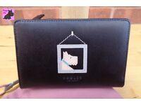 Radley 'Picture Perfect' Black Leather Medium Bi-Fold Purse/Wallet - NEW