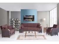 Brand New Turkish 3, 2, 1 Seater Fabric Sofa Bed, Sleek Wooden Leatherette Arms Storage Sofabed