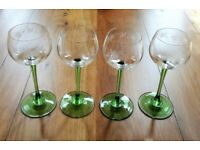 VINTAGE WINE GLASSES SET 4 Tall Classic Cut Engraved Grape Filigree Design Green Stem Glass Signed