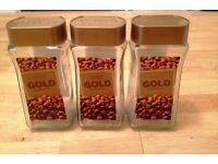 3 X EMPTY AIRTIGHT COFFEE JARS 200g LARGE - push & screw top lids - storage