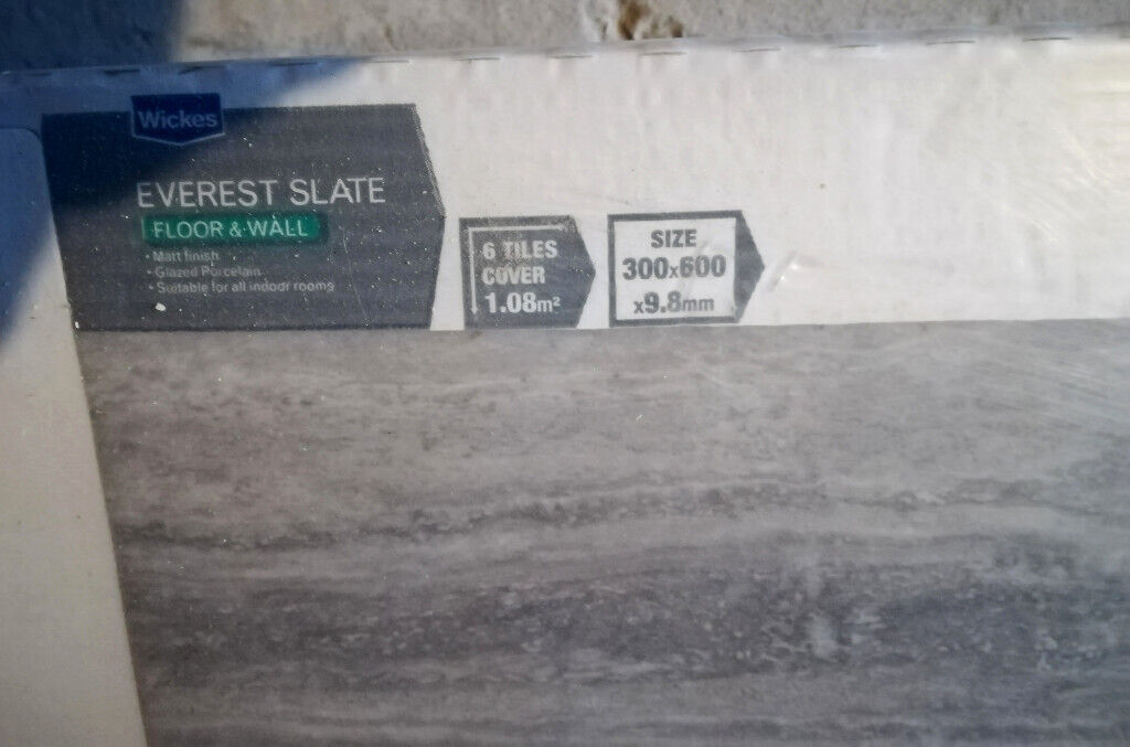 Everest Stone Porcelain Tile 600 X 300mm By Wickes Matt Grey Wall Or Floor Tiles 5 Boxes 5 40
