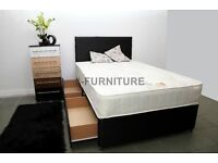 "Luxury Divan Bed With 10"" Real Orthopaedic Mattress.Black or White Base.Storage.Headboard"