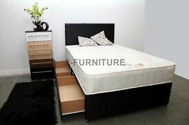 BRAND NEW! CHEAPEST ONLINE! DIVAN BED BASE! LUXURY ORTHOPAEDIC MATTRESS,STORAGE.HEADBOARD OPTIONAL