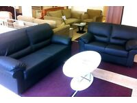 NEW! 3 + 2 Seater BLACK Faux-Leather SOFA SUITE + FAST & FREE LOCAL DELIVERY