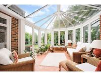 Conservatory suite - 2 chairs and 3 seat sofa plus 2 matching glass tables and 1 other glass table