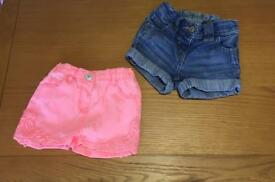 Girls Jean Shorts Two Sizes