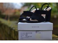Reiss Black Sandals Suede Summer 2017 WORN ONCE! - Size 5 UK (38 EU)