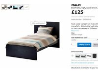 Single Black-Brown Wooden Low Bed with Foamy Mattress