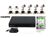 8 Channel AHD CCTV DVR Security System INCLUDES 6 cameras, cables, 2TB Drive, HDMI *NEW*