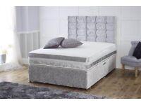 King size silver velvet divan bed