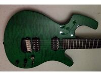 Parker P-44 Pro Green Quilted Electric Guitar with Piezo + Sperzel Locking Tuners
