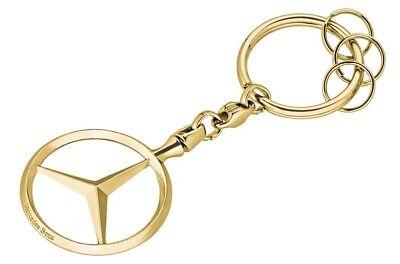 Original Mercedes-Benz Schlüsselanhänger Mercedes-Stern groß goldfarben GESCHENK