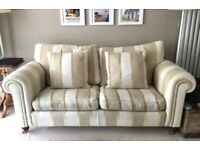 Two large Duresta sofas, gold/beige stripe. Stunning. Great condition