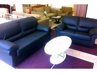 NEW 3 + 2 Seater BLACK Faux-Leather SOFA SUITE + FAST & FREE LOCAL DELIVERY