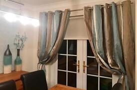 Duck egg stripe ring top curtains 90 drop