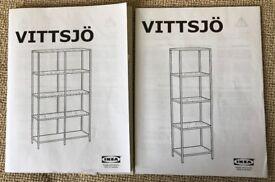 IKEA SHELVING UNITS (2 x VITTSJO LIGHT WOOD SHELVING UNITS)