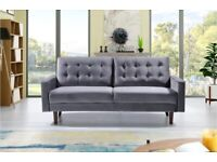 🌈Furniture On Sale-MAZZ 2 Seater And 3 Seater Sofa Plush Velvet In Grey and Cream Color Available
