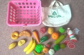 ELC pink shopping basket, ELC food, Hape wooden coffee maker set, plastic tea set