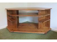 TV stand. Solid pine corner unit.