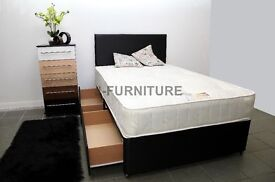 """Luxury Divan Bed With 10"""" Real Orthopaedic Mattress.Black or White Base.Storage.Headboard.All Sizes"""