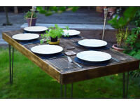 Handmande Reclaimed Wood Dining Table - 6 seater wooden kitchen table.