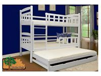 Katee white Triple Wooden Bunk Bed for Kids made of Solid Wood with 3 free mattress