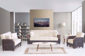 Brand New Turkish 3, 2, 1 Seater Fabric Sofa Beds, Storage + Sleek Wooden Leatherette Arms sofabed