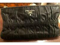 Prada Black Nappa Leather Gaufre wallet Pouch Genuine & Original