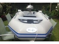 Waveco Inflatable rib, Honda 2.3hp outboard engine and life jackets.
