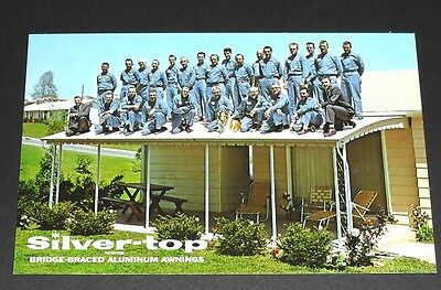 Silver Top Awnings – 26 Men and Dog on Roof Vintage Advertising Postcard