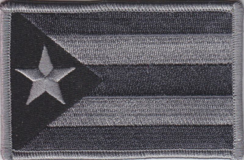 Puerto Rico PR Territorial Flag Patch GREY & BLACK SUBDUED police/military gray