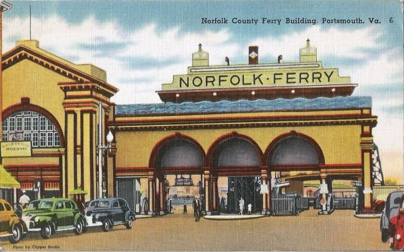 Postcard Virginia Portsmouth Norfolk County Ferry Bldg 1930s-40s Unused Linen