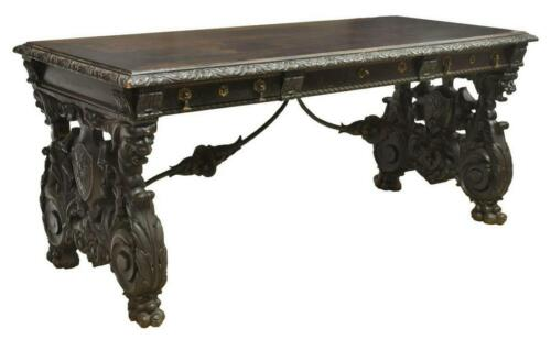 SPANISH RENAISSANCE REVIVAL FINELY CARVED LIBRARY  DESK, 19th century ( 1800s )
