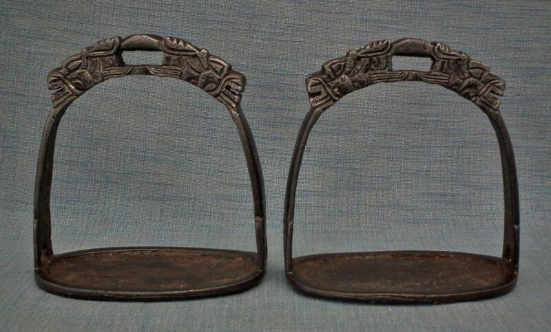 Antique Chinese or Tibetan Ming Dynasty Warrior Horse Saddle Stirrups to sword