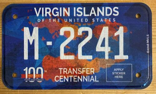 Virgin Islands 2016 CENTENNIAL MOTORCYCLE License Plate SUPERB QUALITY # M-2241