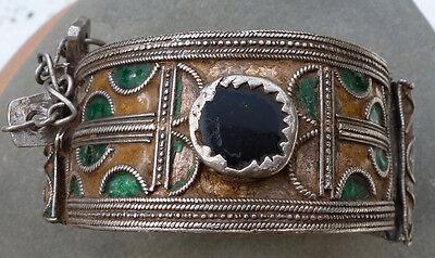 (B) Antique silver enamel glass bracelet Berber Morocco NR