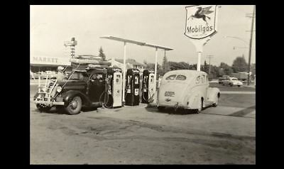 Vintage Mobil Gas Station PHOTO Pegasus Pumps Service Station 1940s Gasoline
