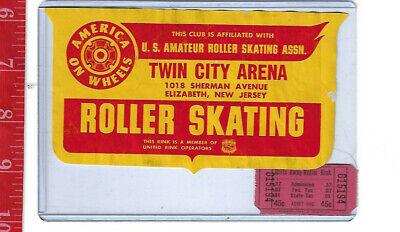 vintage lot roller rink decal Twin City Arena Elizabeth New Jersey & ticket