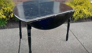 Black Wooden Table with Double Side Fold-Down