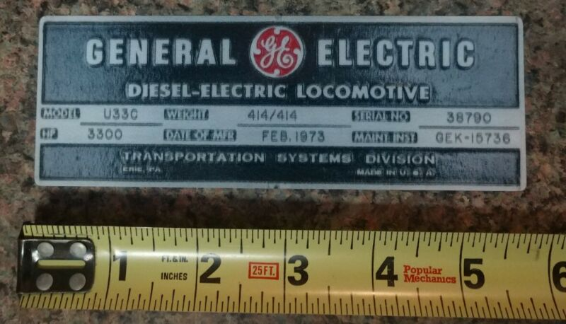 GE General Electric Locomotive Builder Plate Railroad Sticker Decal Quality NEW!